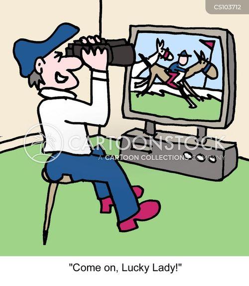 horse racer cartoon