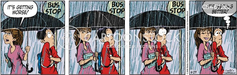 sharing umbrellas cartoon