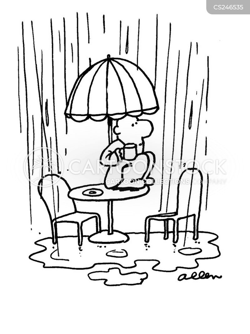 pouring down cartoon