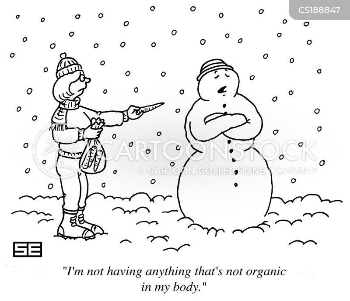 eating organic cartoon