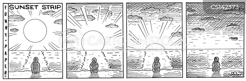 setting sun cartoon