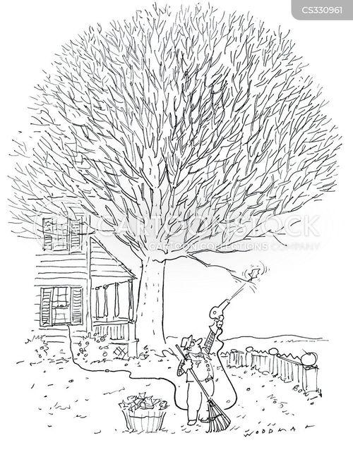 sweeping leaves cartoon