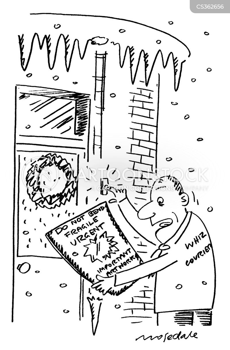 winter delivery cartoon