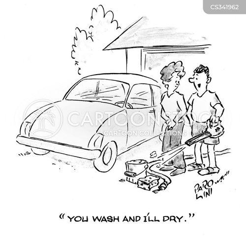 washing the car cartoon