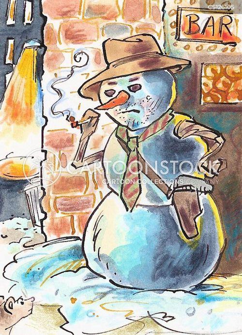 city snowman cartoon
