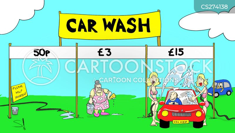 cleaning cars cartoon