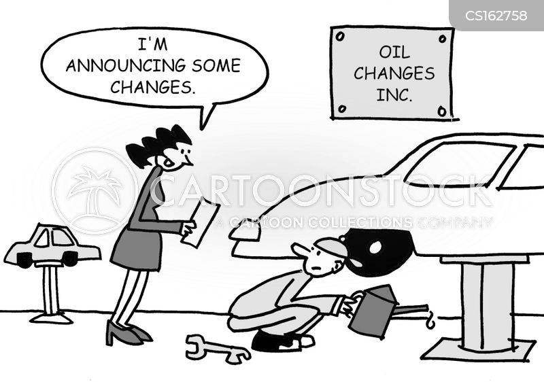 changing oil cartoon