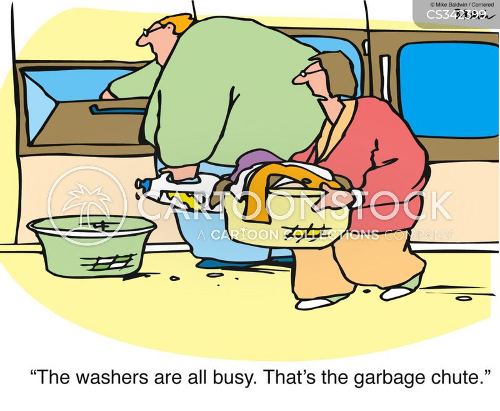 doing the washing cartoon