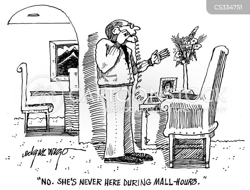 mall opening hours cartoon