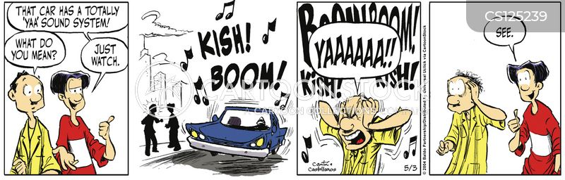 blasting music cartoon