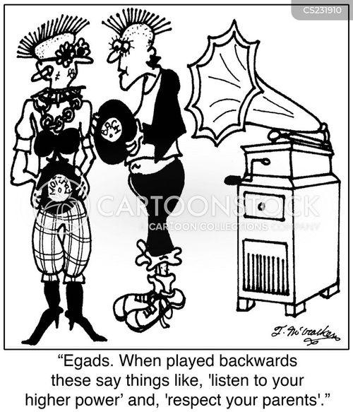 playing records backwards cartoon