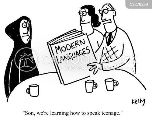 modern language cartoon