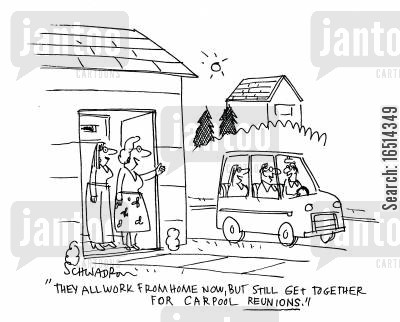 carpool cartoon humor: 'They all work from home now, but still get together for carpool reunions.'