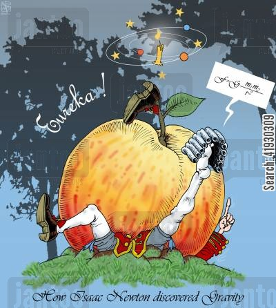 principia cartoon humor: Isaac Newton Discovers Gravity. With Background