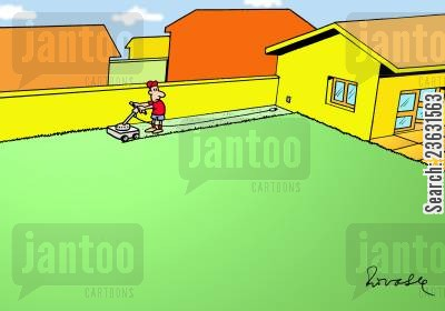 irritation cartoon humor: Mowing the lawn.