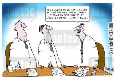 ceo cartoon humor: The good news is that I've got all the figures...the BAD news is that I'm not sure what order to put them in!