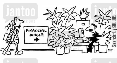 paper pushing cartoon humor: 'Financial Jungle.'