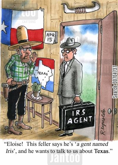 texans cartoon humor: 'Eloise! This feller says he's 'a gent named Iris' and wants to talk to us about Texas.'