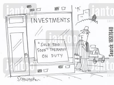 borrow money cartoon humor: 'Sold too soon' therapist on duty.
