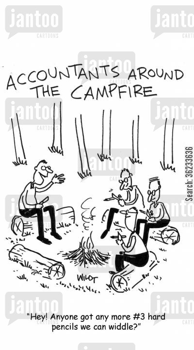 occupations cartoon humor: Accountants around the campfire.
