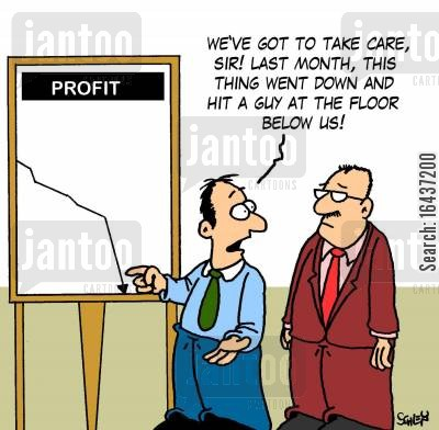 financiers cartoon humor: 'We've got to take care, sir! Last month, this thing went down and hit a guy at the floor below us!'