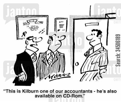 cd roms cartoon humor: 'This is Kilburn one of our accountants - he's also available on CD-Rom.'
