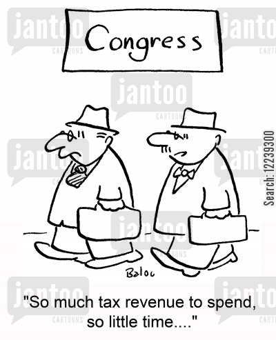 public money cartoon humor: 'So much tax revenue to spend, so little time....'