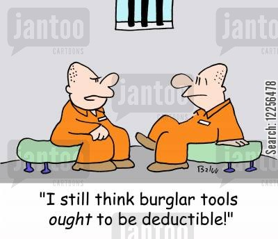 jail cell cartoon humor: 'I still think burglar tools OUGHT to be deductible!'