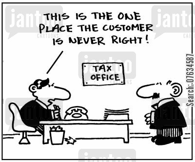 inland revenue cartoon humor: This is the one place the customer is never right!