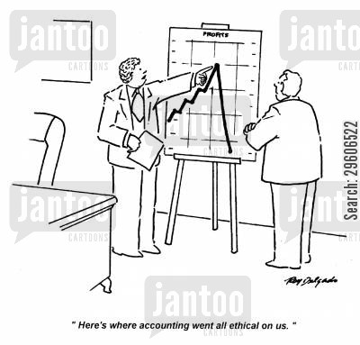 loser cartoon humor: 'Here's where accounting went all ethical on us.'