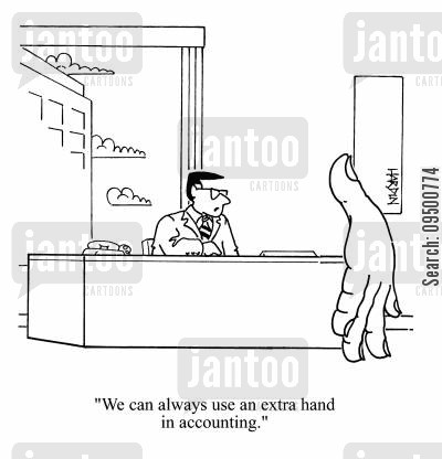 short staffed cartoon humor: 'We can always use an extra hand in accounting.'