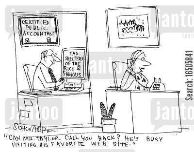 internet secrets cartoon humor: 'Can Mr Taylor call you back? He's busy visiting his favourite web site.'