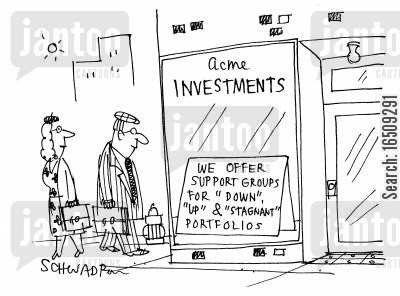 share market cartoon humor: 'We offer support groups for 'down', 'up' and 'stagnant' portfolios.'