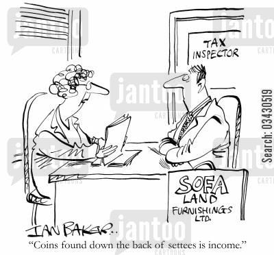 tax retur cartoon humor: 'Coins found down the back of settees is income.'
