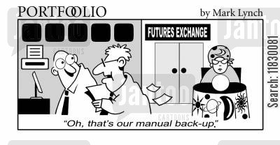 back-up cartoon humor: 'Oh, that's our manual back-up.'