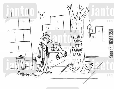 conservatorship cartoon humor: Freddie Mac and Fannie May takeover