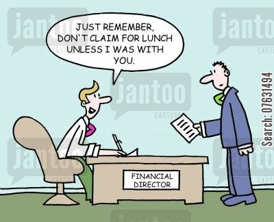 taxes cartoon humor: Just remember, don't claim for lunch unless I was with you.