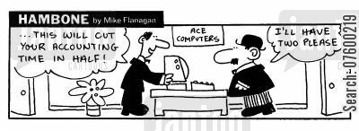 acccouting cartoon humor: STRIP Hambone: Cutting your accounting time in half