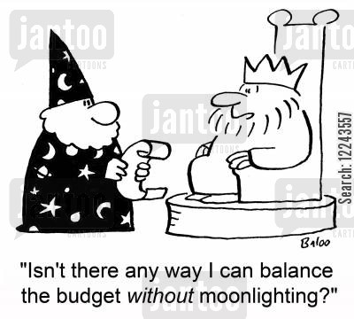 merlin cartoon humor: 'Isn't there any way I can balance the budget without moonlighting?'