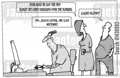 number crunchers cartoon humor: 'Ever since he saw the new budget he's been obsessing over the numbers...'