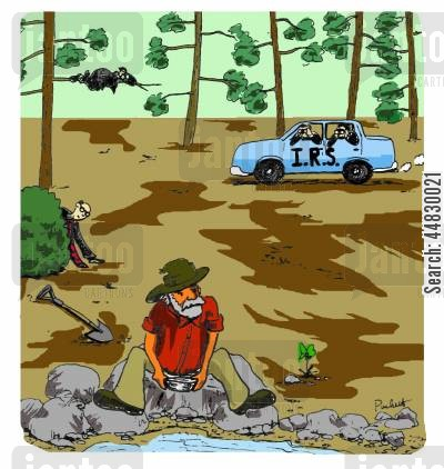 panning cartoon humor: I.R.S spying on a gold prospector.