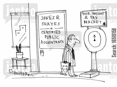 certified accountant cartoon humor: Jones and Shayes - Certified Public Accountants. Scales outside offer to tell your weight and tax bracket.