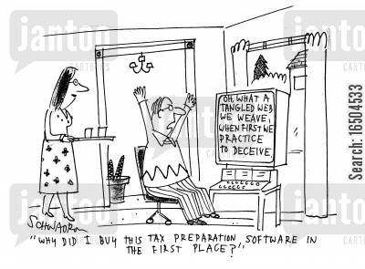 fiscal policy cartoon humor: 'Why did I buy this tax preparation software in the first place?'