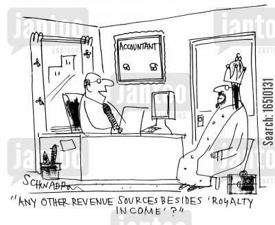 accountancy forms cartoon humor: 'Any other revenue sources besides 'royalty income'?'