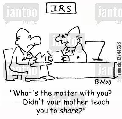 sharing cartoon humor: 'What's the matter with you? -- Didn't your mother teach you to share?'