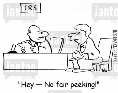 peek cartoon humor: 'Hey -- No fair peeking!'
