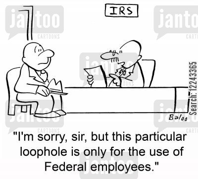 auditing cartoon humor: 'I'm sorry, sir, but this particular loophole is only for the use of Federal employees.'