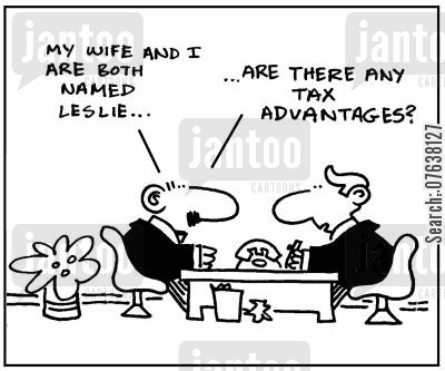 leslie cartoon humor: 'My wife and I are both named Leslie...Are there any tax advantages?'