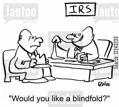 blindfolds cartoon humor: 'Would you like a blindfold?'