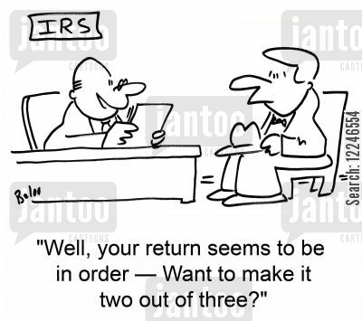 two cartoon humor: 'Well, your return seems to be in order -- Want to make it two out of three?'
